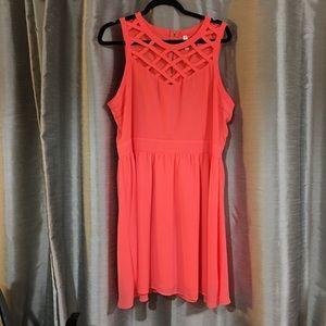 XL Cute Bright Coral Cage Dress